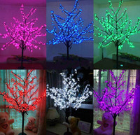 Wholesale Cherry Led Lamp - LED waterproof outdoor landscape garden peach tree lamp simulation 1.5 meters 480 lights LED cherry blossom tree lights garden decoration