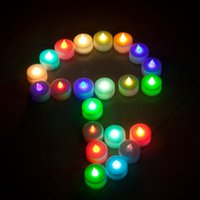 Wholesale Colored Battery Tea Lights - 30pcs lot LED Smokeless Flickering Battery electronic Candles Tea Light candle Christmas holiday decorative candles