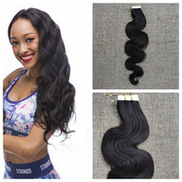 Wholesale 14 Hair Extensions Body Wave - Tape In Hair Extensions Remy 40 Pieces Brown Brazilian Body Wave Pu Taped Skin Weft Hair Extension 14-24inch 100% Human Hair Free Shipping