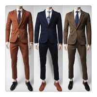 Wholesale Korean Casual Suits For Men - Suits for Men Spring&autumn Fashion Pure Color Washed Men's Korean Style Gentleman Casual Suits+pants US Size:XS-XL