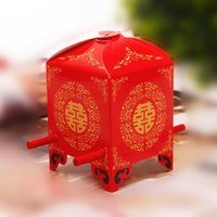 Wholesale Wedding Sweetbox - Hot Sale Wedding Favor Boxes Red Bride Sedan Chair Sweetbox Best Candy Favors Elegant Unique Design Chinese Style