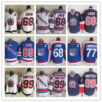 Wholesale Nhl Hockey Rangers - Stitched NHL NY Rangers 68 JAGR 77 ESPOSITO 99 GRETZKY White Blue Throwback Hockey Jerseys Ice Jersey Mix Order