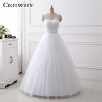 Wholesale Simple Wedding Dresses Korean Style - CEEWHY Miaoduo Vestido De Noiva Design A-Line Lace Wedding Dresses V-Neck Beaded Korean Style Wedding Gowns Floor Length