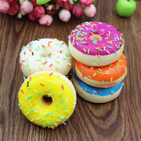 Wholesale Cake Mini Roll - Mini Donut Chocolate Sweet Roll Slow Rising toy Simulation Food Decor Random Color Squishy Model Bread Donut Wedding photography props IB550