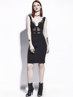 Wholesale Sexy Goth Punk - Women's Punk Gothic Hippie Psychobilly Black Lace Dresses Pinup Sexy Witch Lace Sheer See Through Bodycon Club Festival Party Dress Goth Fit