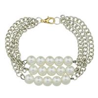 Wholesale White Multi Pearl Bracelet - New Silver Color Multi Layer Chain Bracelet Simulated Pearl Chain & Link Bracelet for Women Bangles