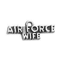 Wholesale Air Force Wife - Air Force WIFE Word Tibetan Silver Plated Charm Accessory Charm Pendant Hot Sell For Bracelet & Necklace Jewelry