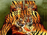 3d bedding set venda por atacado-Wholesale- Home Textiles, padrão de tigre de leopardo amarelo conjuntos de cama 3D 4Pcs de capa de edredon capa de cama fronha tamanho queen