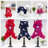 Wholesale Dog Leg Warmer - Y83 New thick warm Pet Clothes Dog Costume Stars Four leg Jumpsuit Clothing for Small dogs Winter Pet Hooded Jacket Yorkshire
