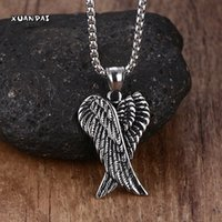 Vente en gros - Mprainbow Hommes Colliers en acier inoxydable Gothique Vintage Double Angel Wings Pendentif Collier Kolye Mens Fashion Biker Jewelry 24