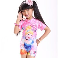 Wholesale Young Girls Swimwear - Summer Cartoon Young Girls One Pieces Swimsuit High Quality Acrylic Lovely Print Girl Swimsuit Children Swimwear