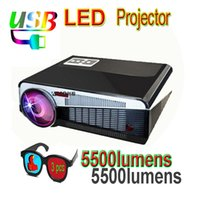 Wholesale Cheapest Full Hd Projector - Wholesale-Top Home cinema 5500Lumens 1280x800 Portable Digital 1080P full HD 3D Video HDMI USB LCD LED Projectors cheapest price