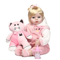 Wholesale Adorable Reborn Baby Girl - Wholesale- 55cm Baby reborn toys dolls adorable Victoria Lifelike newborn Baby Bonecas kid Bebe toy cute girl silicone reborn baby dolls