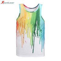 Wholesale Color Tank Tops For Men - Sportlover Summer New Sleeveless Tank Tops for Men Boys Art Design Color Paint Printed Fashion Tanks Top Casual Vest Fitness Top