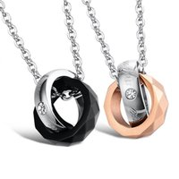Wholesale Titanium Necklace Couples Ring - hot sale high quality fashion jewelry titanium steel double rings Geometry diamond couple lovers pendant necklace