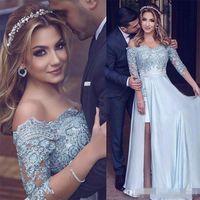 Wholesale engagement chiffon dress - Sky Blue Arabic Prom Dresses With Detachable Train New Arrival Lace Applique 3 4 Sleeves Engagement Evening Party Gowns