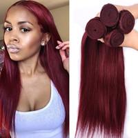 kırmızı düz insan saç uzantıları toptan satış-Sınıf 7A Toptan 4 Demetleri / lot Renk Bordo Düz Malezya Saç Uzantıları 99J Kırmızı Şarap Düz İnsan Saç Dokuma Fiyatları