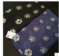 Wholesale Cotton Lace Scarfs - The classic brand black and white small fragrant Camellia variety Fashion Scarf dual size cotton large