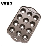 Wholesale Mini Loaf - Wholesale- 12 Cups Carbon Steel Mold Nonstick Mini Cheesecake Pans Mould Loaf Muffin Pan Bakeware DIY Flower Shape Drop Bottom Tool