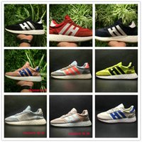 Wholesale Womens Navy Blue Flats - Iniki Runner Shoes Navy Yellow Grey Red Haze Coral Grey Pride of the 70s Mens Womens Size EU36-45 Top Quality Real Boost