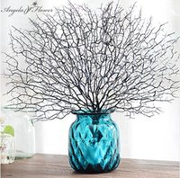 Wholesale coral branches - High Quality Peacock Coral Branch Artificial Plants For The Wedding Home Decoration Plastic Artificial Flowers