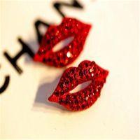 ingrosso grandi gioielli sexy-Orecchini a bottone in cristallo con strass vintage Orecchini a perno grande con orecchini a forma di labbra con diamante rosso sexy Accessori per gioielli da sposa per donna Regalo di Natale
