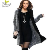Wholesale One Size Cardigans - Wholesale-Best Price One Size 2016 Women's Fashion Faux Fur Hit Color Long Sleeve Cardigans Autumn and Winter Warm Overcoat Sweater