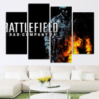 Wholesale Battlefield Poster - 4 Pcs Set Framed HD Printed Battlefield Soldier Gun Movie Picture Wall Art Canvas Print Decor Poster Canvas Modern Oil Painting