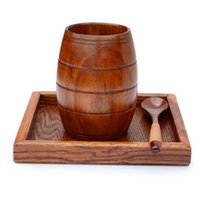 Wholesale Wine Barrels Free Shipping - 2017 Fashion Jujube Wooden Barrel Shaped Beer Mug Brown Wood Wine Cups Belly Cup 200ML Free Shipping