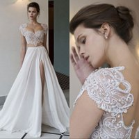 Wholesale Chiffon Beading Wedding Dress - Two Pieces Beach Wedding Dresses With Sleeves High Split Unique Pearls Beading Chiffon Wedding Dress Cheap Plus Size Bridal Gowns