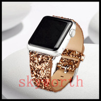 Wholesale Wholesale Leather Bling Belts - Shiny Glitter Power PU Leather Bling Luxury Band Wristwatch Bracelet Strap Belt for Apple Watch (38MM and 42mm)