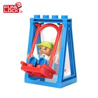 Wholesale plastic playgrounds online - Swing Duplo Block Amusement Park Theme Playground Educational Learning Toy Game For Kid
