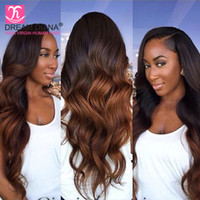 Wholesale 33 Body Wave - Top Quality Ombre Brazilian Body Wave Two Tone T1B 27 T1B 30 T1B 33 Dark Roots Brazilian Virgin Hair Weave Bundles Ombre Body Wave