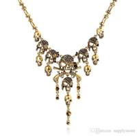 Wholesale Skull Necklace Vintage Design - Fashion Pirates of the Caribbean Design Choker Jewelry Vintage Bones Chains Rhinestones Skulls Pendants Necklaces Gold Silver