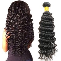 Wholesale malaysian deep curl hair weave online - Brazilian Virgin Hair Deep Wave Human Virgin hair Extensions Weave or Bundles Deep Curly Weave Bundles Remy Curl for black women