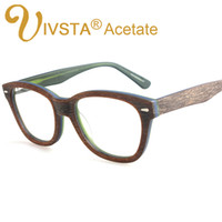 Wholesale Handmade Wooden Eyeglass Frames - Wholesale- IVSTA Eyeglasses Acetate Frames with Wood Grain Design Handmade Acetate Optical Frame Wooden Glasses Women myopia Cat Eye 2985