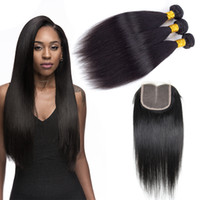 Wholesale Human Hair Soft Silky - Hot Sale Peruvian Virgin Hair Straight Weaves Closure 3 Bundles Human Hair Wefts with 4x4 Lace Closure Soft and Silky Wewill Hair Products