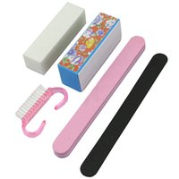 Wholesale Best Nail Art Brushes - Best Deal5X Pro Manicure Tools Kit Rectangular Nail Files Brush Accessories Nail Art SetHot