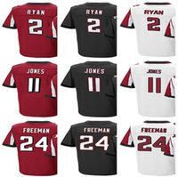 Wholesale Men s Atlanta Matt Ryan Julio Jones Devonta Freeman Home Red Black Jersey Falcon Jerseys