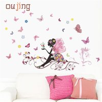 Vente en gros - Oujing Butterfly Flower Fairy autocollants pour les chambres d'enfants décalques pour filles Sticker DIY Living Room Wall Sticker Home Decor