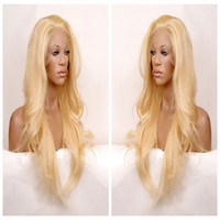 Wholesale Long Curly Synthetic Hair Wigs - Long wavy hair lace front wig synthetic black hair free part heat resistant black blonde brown three combs &straps