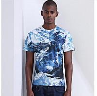 Wholesale T Shirt 3d Mountains - Men Summer 3D Printing T-shirts Hip Hop Snow Mountain uCasual Tee For Men Slim O Neck Short Sleeve Men T-shirt J170303
