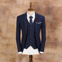Wholesale Blue Blazer Jacket Mens - Men's Vintage Suits 2017 Male Fashion Blazer Mens Blue Slim Suit Jacket Groom Suit Wedding Dress for Men Free Shipping