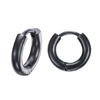 Wholesale- Homens Mulheres Hip Hop Rock Brinco Round Hoop Earring Stainless Steel Boy Girl Punk Earring Prata / Ouro / Rose Gold / Black 11/20 / 25mm