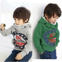 Wholesale kids wool jackets - 2016 Children's Cashmere Sweater Boy Hooded Jackets Fashion Cotton Kids Grey Green Clothing 68 Hoodies Pullover Sweatshirts Jackets