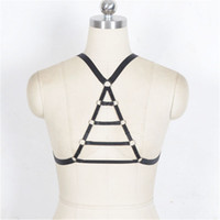 Wholesale Womens Harness Belt - Black-Elastic Crop Tops Cage Harness Bra Womens Sexy Body Harness Caged Bondage Lingerie Strappy Bras Pastel Goth Crop Top Suspender Belts F