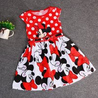 Wholesale Girls E Clothing - Baby Minie E Mickey Girl Dress Princess Dot Kids Clothes Bow Minnie Mouse Dresses For Girls Birthday Party Wedding