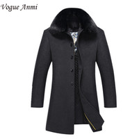 Wholesale Trench Coat Vogue - Wholesale- Vogue Anmi. 2017 new arrival men's wool coat medium-long male thickening cashmere larrge outerwear winter trench plus size M-3XL