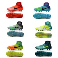 Wholesale Mens Waterproof Boots 39 - Mens soccer cleats high tops Magista orden II FG red blue green football boots Lace Up waterproof outdoor soccer sports size 39-45