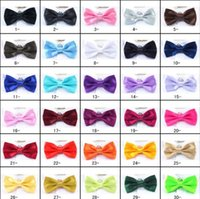Wholesale Pre Tied Bows Wholesale - 30 colors PreTied Mens Dickie Bow Tie Ties BowTie Pre Tied Adjustable Wedding Prom Solid Colors Plain Silk